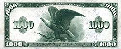 Series 1918 $1000 bill, Reverse