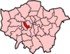 Location of the London Borough of Kensington and Chelsea in Greater London