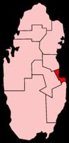杜哈在卡達的地理位置