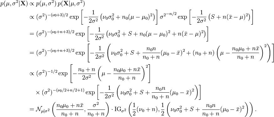 \begin{align} p(\mu,\sigma^2|\mathbf{X}) & \propto p(\mu,\sigma^2) \, p(\mathbf{X}|\mu,\sigma^2) \\ & \propto (\sigma^2)^{-(\nu_0+3)/2} \exp\left[-\frac{1}{2\sigma^2}\left(\nu_0\sigma_0^2 + n_0(\mu-\mu_0)^2\right)\right] {\sigma^2}^{-n/2} \exp\left[-\frac{1}{2\sigma^2} \left(S + n(\bar{x} -\mu)^2\right)\right] \\ &= (\sigma^2)^{-(\nu_0+n+3)/2} \exp\left[-\frac{1}{2\sigma^2}\left(\nu_0\sigma_0^2 + S + n_0(\mu-\mu_0)^2 + n(\bar{x} -\mu)^2\right)\right] \\ &= (\sigma^2)^{-(\nu_0+n+3)/2} \exp\left[-\frac{1}{2\sigma^2}\left(\nu_0\sigma_0^2 + S + \frac{n_0 n}{n_0+n}(\mu_0-\bar{x})^2 + (n_0+n)\left(\mu-\frac{n_0\mu_0 + n\bar{x}}{n_0 + n}\right)^2\right)\right] \\ & \propto (\sigma^2)^{-1/2} \exp\left[-\frac{n_0+n}{2\sigma^2}\left(\mu-\frac{n_0\mu_0 + n\bar{x}}{n_0 + n}\right)^2\right] \\ & \quad\times (\sigma^2)^{-(\nu_0/2+n/2+1)} \exp\left[-\frac{1}{2\sigma^2}\left(\nu_0\sigma_0^2 + S + \frac{n_0 n}{n_0+n}(\mu_0-\bar{x})^2\right)\right] \\ & = \mathcal{N}_{\mu|\sigma^2}\left(\frac{n_0\mu_0 + n\bar{x}}{n_0 + n}, \frac{\sigma^2}{n_0+n}\right) \cdot {\rm IG}_{\sigma^2}\left(\frac12(\nu_0+n), \frac12\left(\nu_0\sigma_0^2 + S + \frac{n_0 n}{n_0+n}(\mu_0-\bar{x})^2\right)\right) . \\ \end{align}