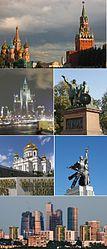 Dall'alto al basso, da sinistra a destra: la torre Spasskaja del Cremlino, la Cattedrale di San Basilio, la Cattedrale di Cristo Salvatore, l'Edificio residenziale della riva Kotel'ničeskaja, la Torre di Ostankino, il Centro internazionale di affari di Mosca.