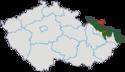 Mapa rozložení Slezska v rámci České republiky