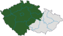 Mapa rozložení Čech v rámci České republiky