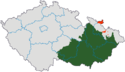 Mapa rozložení Moravy v rámci České republiky