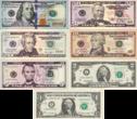 $1到$100的纸币