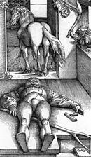 Tresnittet «Den forheksede stallgutten» av Hans Baldung fra 1544 viser datidens trange buksemote med tøyklaff eller enkel kamkapsel.