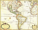 Antique map of the Americas, also showing the southwestern portion of Europe and northwest Africa.