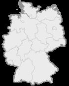 Mapa da Alemanha, posição de Münster acentuada