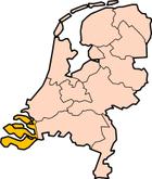 Zeelands plassering i Nederland markert med gult