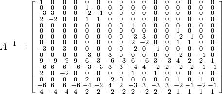 A^{-1}=\left[\begin{smallmatrix}  1 & 0 & 0 & 0 & 0 & 0 & 0 & 0 & 0 & 0 & 0 & 0 & 0 & 0 & 0 & 0 \\  0 & 0 & 0 & 0 & 1 & 0 & 0 & 0 & 0 & 0 & 0 & 0 & 0 & 0 & 0 & 0 \\  -3 & 3 & 0 & 0 & -2 & -1 & 0 & 0 & 0 & 0 & 0 & 0 & 0 & 0 & 0 & 0 \\  2 & -2 & 0 & 0 & 1 & 1 & 0 & 0 & 0 & 0 & 0 & 0 & 0 & 0 & 0 & 0 \\  0 & 0 & 0 & 0 & 0 & 0 & 0 & 0 & 1 & 0 & 0 & 0 & 0 & 0 & 0 & 0 \\  0 & 0 & 0 & 0 & 0 & 0 & 0 & 0 & 0 & 0 & 0 & 0 & 1 & 0 & 0 & 0 \\  0 & 0 & 0 & 0 & 0 & 0 & 0 & 0 & -3 & 3 & 0 & 0 & -2 & -1 & 0 & 0 \\  0 & 0 & 0 & 0 & 0 & 0 & 0 & 0 & 2 & -2 & 0 & 0 & 1 & 1 & 0 & 0 \\  -3 & 0 & 3 & 0 & 0 & 0 & 0 & 0 & -2 & 0 & -1 & 0 & 0 & 0 & 0 & 0 \\  0 & 0 & 0 & 0 & -3 & 0 & 3 & 0 & 0 & 0 & 0 & 0 & -2 & 0 & -1 & 0 \\  9 & -9 & -9 & 9 & 6 & 3 & -6 & -3 & 6 & -6 & 3 & -3 & 4 & 2 & 2 & 1 \\  -6 & 6 & 6 & -6 & -3 & -3 & 3 & 3 & -4 & 4 & -2 & 2 & -2 & -2 & -1 & -1 \\  2 & 0 & -2 & 0 & 0 & 0 & 0 & 0 & 1 & 0 & 1 & 0 & 0 & 0 & 0 & 0 \\  0 & 0 & 0 & 0 & 2 & 0 & -2 & 0 & 0 & 0 & 0 & 0 & 1 & 0 & 1 & 0 \\  -6 & 6 & 6 & -6 & -4 & -2 & 4 & 2 & -3 & 3 & -3 & 3 & -2 & -1 & -2 & -1 \\  4 & -4 & -4 & 4 & 2 & 2 & -2 & -2 & 2 & -2 & 2 & -2 & 1 & 1 & 1 & 1 \end{smallmatrix}\right]
