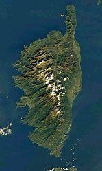La Corsica vista dal satellite.