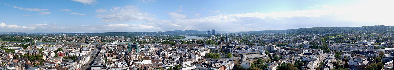 Pohled na centrum Bonnu a přilehlých, dříve samostatných obcí