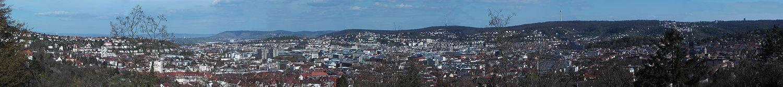 Pohled na Stuttgart z jihovýchodu.