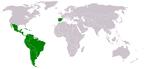 Localização dos países-membros da Conferência Ibero-americana.