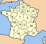 Regiões francesas numeradas.