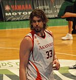 """A basketball player, wearing a white jersey with the word """"AKASVAYU"""" and the number 33 on the front, stands on a basketball court."""