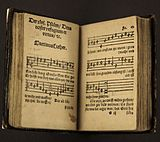 "second edition hymnal by Martin Luther, showing ""A Mighty Fortress Is Our God"""