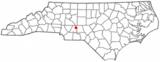 Ubicación en el condado de Stanly y en el estado de Carolina del Norte Ubicación de Carolina del Norte en EE.UU.