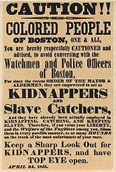 """Bostoner Plakat, das Farbige vor den """"Sklavenfängern"""" der Bostoner Polizei warnt"""
