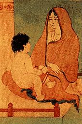 A warm-toned ink work, dominated by orange-red (foreground) and olive green (background wall) showing a shawl- and sari-clad woman with a young child, who holds a book, in her lap.