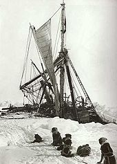 A line of seated dogs looks at a wrecked tangle of masts, rigging and sails