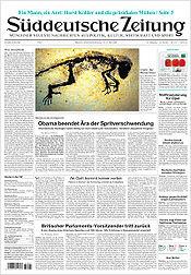 Titelseite Süddeutsche Zeitung vom 20. Mai 2009