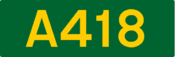 A418 road shield