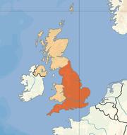 Poloha Anglie v rámci Spojeného království Velké Británie a Severního Irska