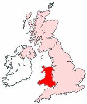 Wales na mapě Spojeného království Velké Británie a Severního Irska