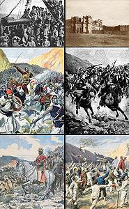 Dall'alto in basso, in senso orario: truppe italiane in arrivo a Massaua, il forte di Enda Jesus a Macallé, cavalleria etiope, l'annuncio ai prigionieri italiani della fine delle ostilità, Menelik II alla battaglia di Adua, Ras Mekonnen Welde Mikaél alla battaglia dell'Amba Alagi