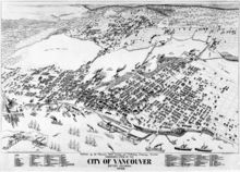 Black-and-white illustration of Vancouver. Large ships fill the harbor in the south; the town, filling the center of the map, is bounded by trees on the left and top sides. Bridges span the middle-top body of water.