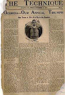 """A newspaper front page with the headline, """"Georgia—Our Annual Triumph"""", an image of a football player, and four columns of text"""