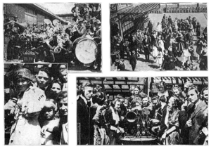 There are four separate scenes portrayed, on in each corner, all in black and white. In the top-left picture, there are many people with brass musical instruments standing in front of a brick building. On the bottom-right corner of that scene, there is a large drum. In the top-right picture, there are many dancing men and women in suits and dresses, and the viewer appears to be slightly above them. In the bottom-left picture, a woman and a hat and a jacket is standing. There is a man and some children behind her. In the bottom-right picture, many people wearing headphones are surrounding some electronic equipment sitting on a table.