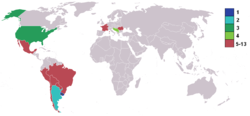 World map highlighting competing nations, colour coded by finishing position with the top four marked separately (Uruguay 1, Argentina 2, USA 3, Yugoslavia 4). Most of the Americas are shaded, with small representation in Europe. Other continents are entirely unshaded.