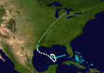 A Gulf of Mexico storm track starts about halfway west of the Florida panhandle, heads west, completes a clockwise loop, and heads northeast towards Texas.