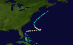 A storm track starts east of the Florida panhandle and moves eastward; after turning towards the north, the track terminates near Nova Scotia.