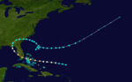 The path of a storm that begins well to the east of the Florida peninsula, and after moving westward and striking Florida, it curves northeast and re-enters the Atlantic Ocean.