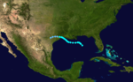 A Gulf of Mexico storm track starts about halfway between the Florida panhandle and Yucatan, heads west and a bit north, and makes landfall near the Texas–Louisiana border.