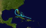 Map of Florida depicting the track of a tropical storm, which starts north of Hispaniola, heads westward, and moves ashore in the United States.