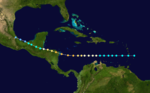 A map depicting the track of a storm that traverses the Caribbean Sea from east-west and strikes Central America.