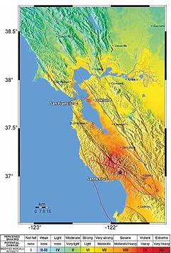 A map showing the earthquake's epicenter in California's Santa Cruz Mountains, and the various levels of earthquake shaking intensity felt in the surrounding region.