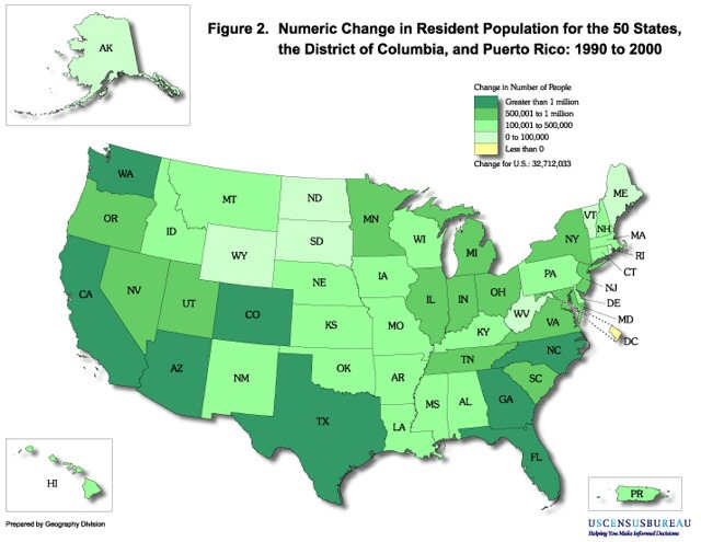 从1990年到2000年,各个州居民人口数量上的变化,包括华盛顿特区和波多黎各。