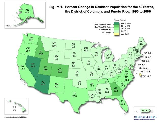 从1990年到2000年,各个州居民人口数量变化的百分比,包括华盛顿特区和波多黎各。