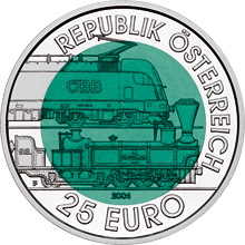 Coin with a dark green cener and a silvery outer rim. The rim reads: Republik Österreich 25 Euro. The centere shows electric and a steam driven locomotive