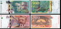 200 and 500 francs