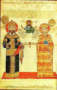 Císař Alexios III. s chotí.
