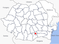 Location of Bucharest within Romania (in red)