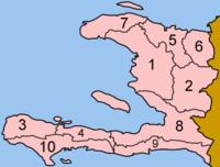 Mapa dos departamentos do Haiti.