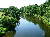 Řeka Jūra u obce Pajūris