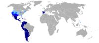 Kart over den spansktalende verden.